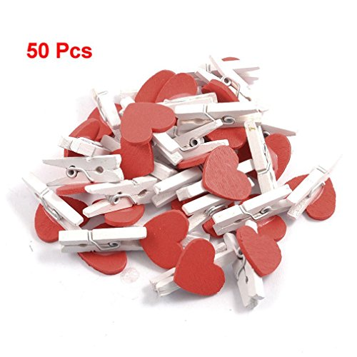50 Pcs Red Heart Accent White Wooden Spring Clothespins Memo Clips - 1