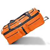 Special Edition Colors - Oversized Rolling Soft Trunk Duffel Bag 42', Everest - Ideal for Camp, Car & Bus Travel (Orange)