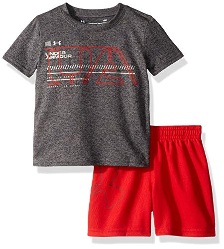 Under Armour Baby Boys Sleeve Bodysuit and Short Set, Pitch Gray S19, 18M (Fairview Square)
