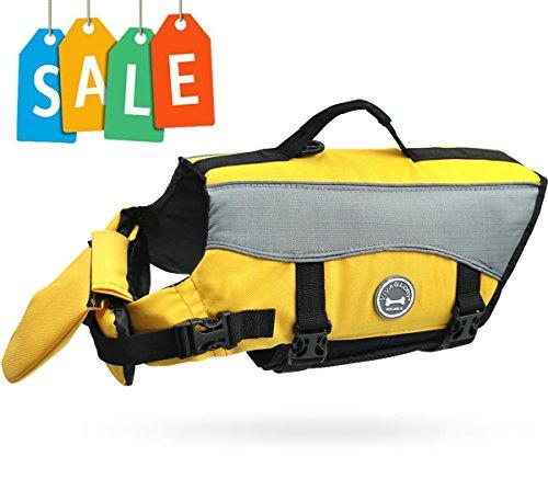 Vivaglory Dog Life Jacket Dog Lifesaver Vest Pet Reflective Life Preserver, Extra Large, Yellow