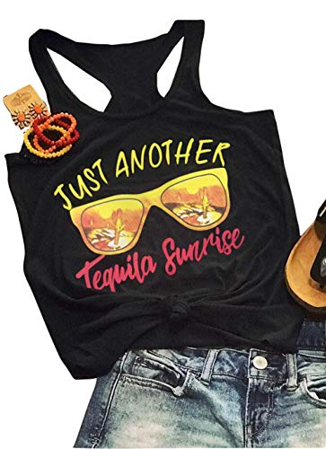 Just Another Tequila Sunrise Tank Women Sleeveless Glasses Graphic Casual Vest T Shirt (Black, XL)