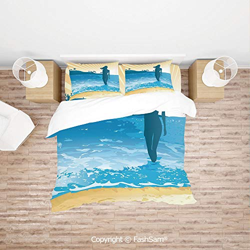 FashSam Duvet Cover 4 Pcs Comforter Cover Set Summer Vibes Girl Near The Sea Shore Ocean Palms Waves Sunny Art Print for Boys Grils Kids(Single)