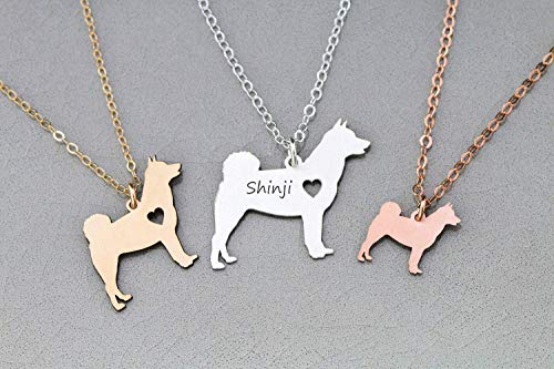 Shiba Inu Dog Necklace - IBD - Hokkaido - Personalize Name Date - Pendant Size Options - 935 Sterling Silver 14K Rose Gold Filled Charm - Fast 1 Day Production ()