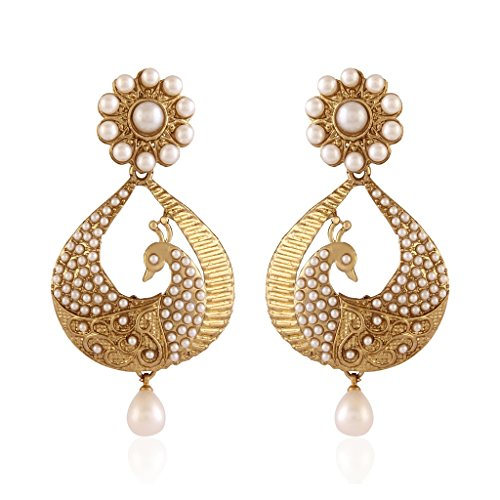 I-Jewels-White-Gold-Plated-Peacock-Shaped-Pearl-Dangle-Drop-Earring-For-Women-Em2251W