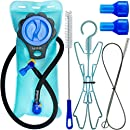 Aquatic Way Hydration Bladder With Cleaning Kit & Bite Valves 2 Liter 2L 70 oz Water Reservoir for Bicycling Hiking Camping Backpack. BPA Free Easy Clean Large Opening Quick Release Insulated Tube