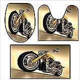 3 Piece Toilet lid Cover mat Set Iron Custom Aesthetic Hobby Motorbike with Futuristic Modern Mirrors Riding Theme Yellow Silver.Customized Rug Set 19.6''x15.7''-21.6''x19.6''-31''x19.6''