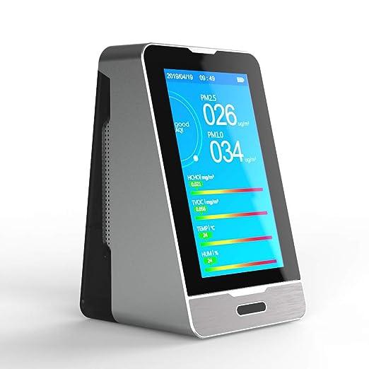 TTLIFE Monitor de calidad del aire detector de calidad del aire Air Quality Monitor para PM2.5 PM10 PM1.0 CO2 TVOC AQI Temperatura Humedad con pantalla LCD colorida