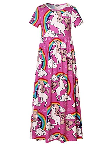 Jxstar Maxi Dress Little Girls Unicorn Print Short Sleeve Casual Long Dress Stretch,Unicorn Maxi,8-9Years/Height:53in]()
