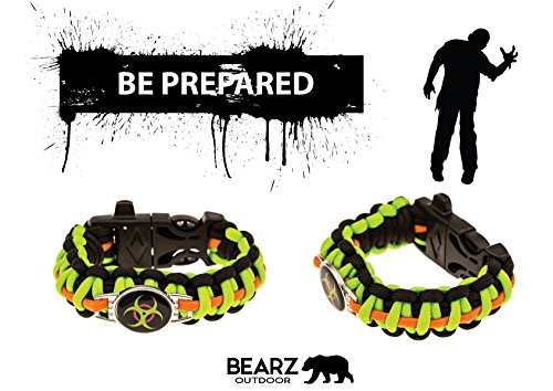 Zombie-Paracord-Bracelet-Biohazard-Survival-Kit-Series-Emergency-Gear-for-Hiking-Camping-Climbing-and-other-Outdoor-Sports-or-Just-Fun-Fire-Starter-and-Safety-Whistle