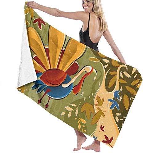 NiYoung Premium Bath Towels Wash Cloths for Home, Hotel, Spa, Pool Salon - Thanksgiving Turkey Fall Leaf Towels, Soft Absorbent Shower & Bath Towel Extra Large Bath Sheets - 32x51 inch