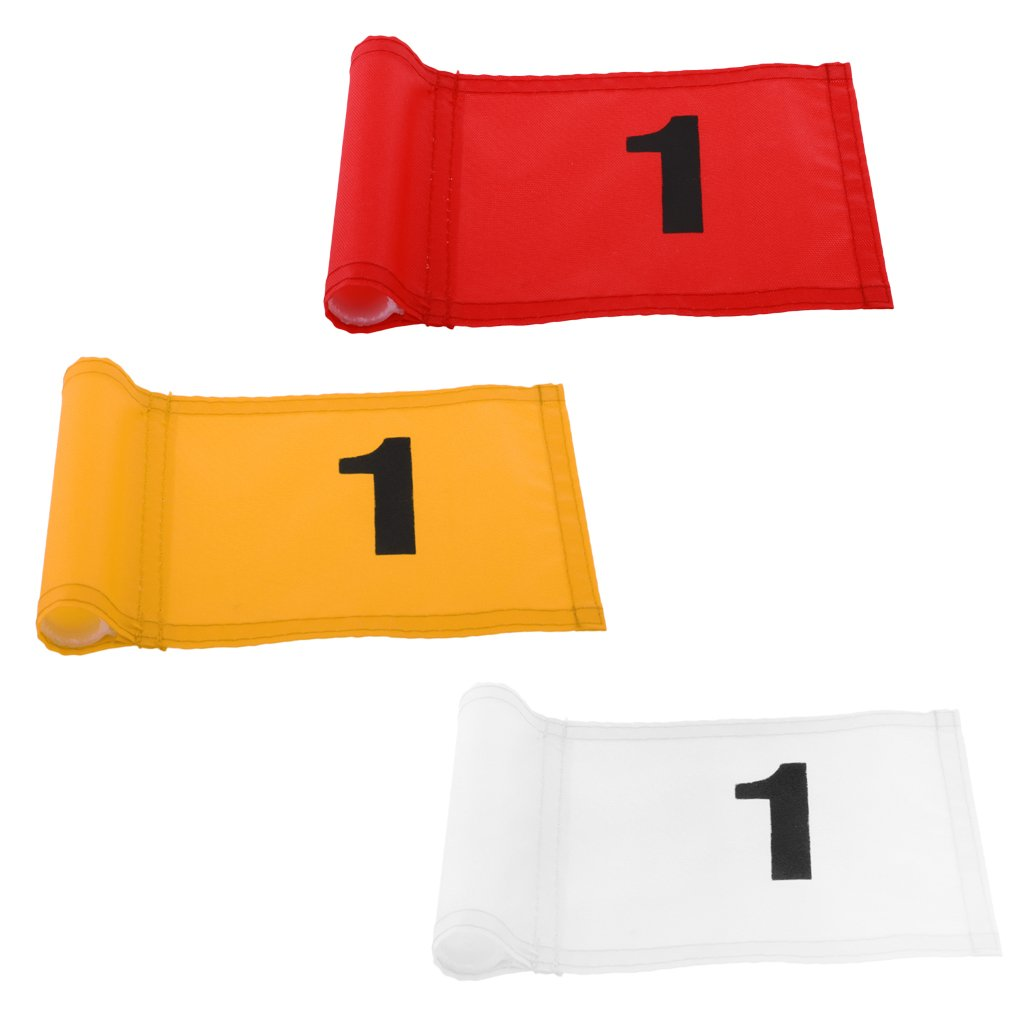 MagiDeal 3 Pieces Durable Nylon Golf Flag Golf Practice Putting Green Flag Golf Target Marker with Number 1 by Unknown (Image #10)