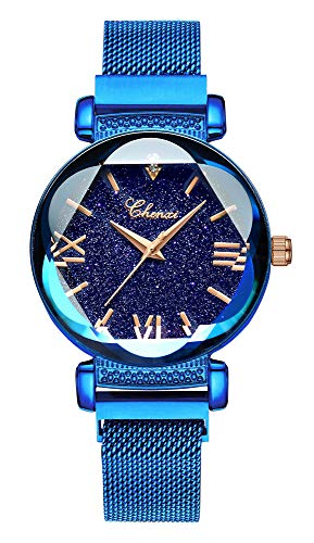 - Luxury Women Watches Sky Dial Analog Quartz Watch Magnetic Mesh Band Waterproof Wrist Watches for Ladies (Blue)