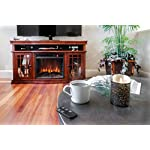 "e-Flame USA Jackson Electric Fireplace Stove TV Stand - 60""x33"" - Warm Cherry Finish"