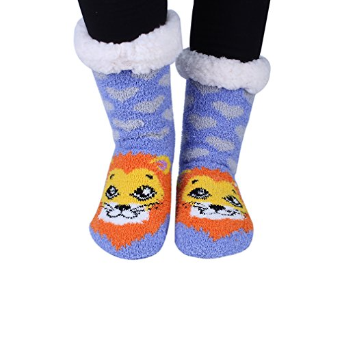 Highs Fuzzy Lion Kokkn Animal Slip Cartoon Stockings Knee Womens Warm Slipper Socks Non ITqE7qw