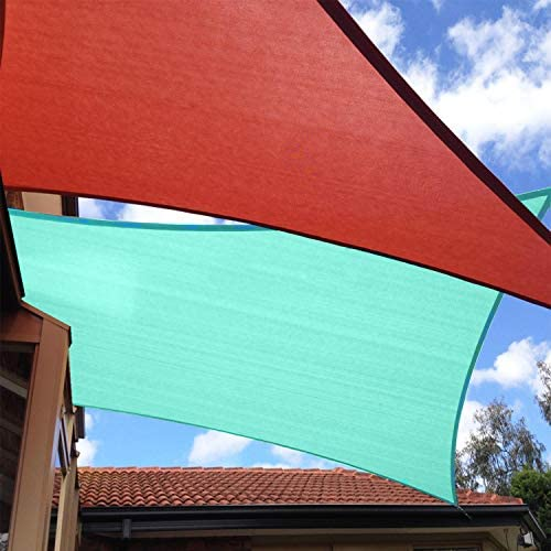TANG Sunshades Depot 24' x 3' Sun Shade Sail Square 180 GSM HDPE Permeable Curved Edge Canopy Turquoise Green Custom Commercial Grade Standard