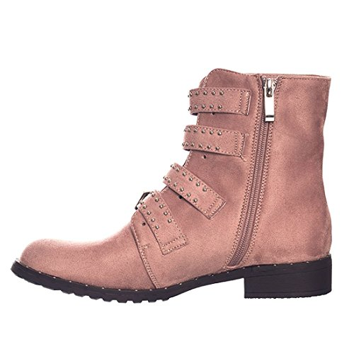 Ankle Suede Boots Shoes Studded Zip Womens Strap Pink SheLikes Block Heel Low Belt Side Buckle OqXRPxZH
