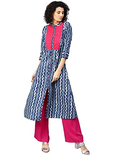 Jaipur Kurti Women Ethnic Casual Geometric Top Tunic Dress A-Line Cotton Kurta & Palazzo (Blue & Fuschia)