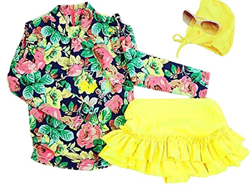 Baby Girls Three Pieces Floral Sun Protection Swimsuit Bikini Set (3-4T, Yellow)