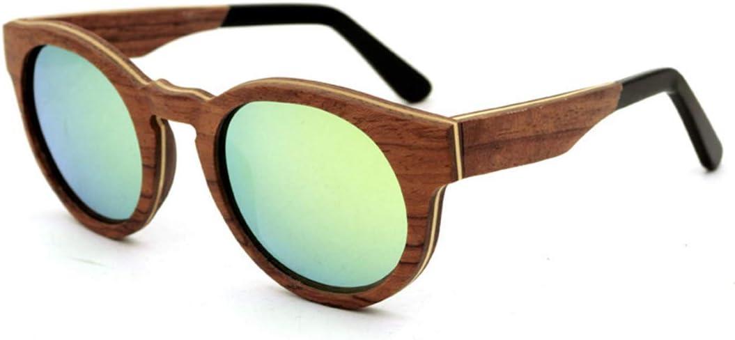 ERSD Estilo Retro Forma Redonda Hecho a Mano Gafas de Sol con Montura de Madera Lente de Color Protección UV400 para Hombres Mujeres Alta Gama Diseño clásico de Moda (Color : Verde)