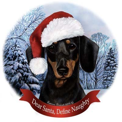 Dog in Santa Hat Porcelain Hanging Howliday Ornament (Dachshund (Black and Tan))