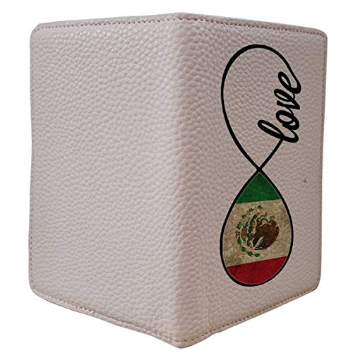 [OxyCase] Designer Light Weight PU Leather Passport Holder Cover/Case - Infinity Love Mexico Flag Mexicon Flag Design Printed Cute Travel Wallet for Girls/Women