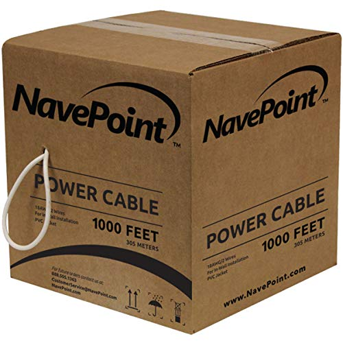 NavePoint 1000ft in Wall Power Cable Spool 18AWG 18/2 CCTV Bulk Security Camera Power CCA - Cable Cable Liberty Video