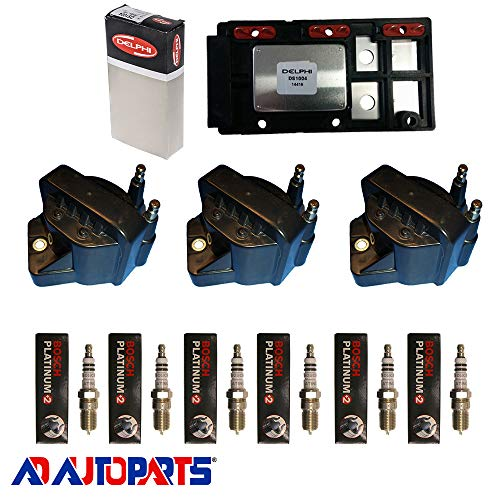 (AD Auto Parts Coil Pack - DS1004 Ignition Control Module + 3 OEM BS3006 Ignition Coils + 6 4304 Spark Plugs)