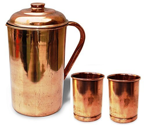 Set Jug (Pure Copper Pitcher Jug with 2 Copper Tumbler Glasses for Ayurveda Healing)