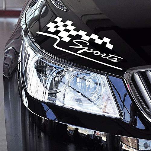 ZaCoo Sports Style Car Front Cover Sticker Auto Emblem Bumper Sticker Decals Badge Auto DIY Body Vinyl Sticker (White)