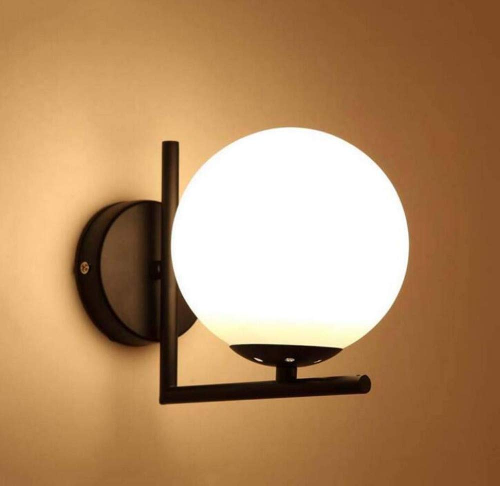 Modern Glass Ball Wall Lamp, Indoor LED Wall Lighting with Iron Arm Stand, Bedroom Living Room Kitchen Lighting Fixture, E27, 15 18cm, Black [Energy Class ...