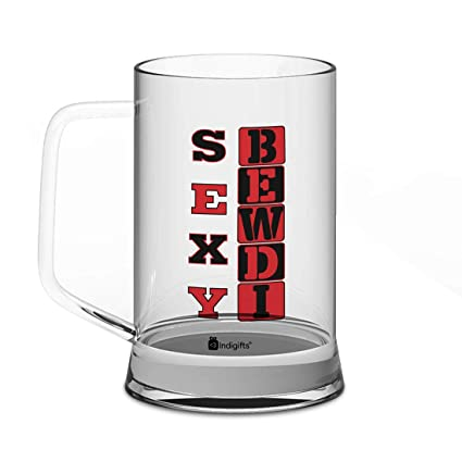 Buy Indigifts Valentines Day Gifts Sexy Bewdi Quote Clear Glass Beer