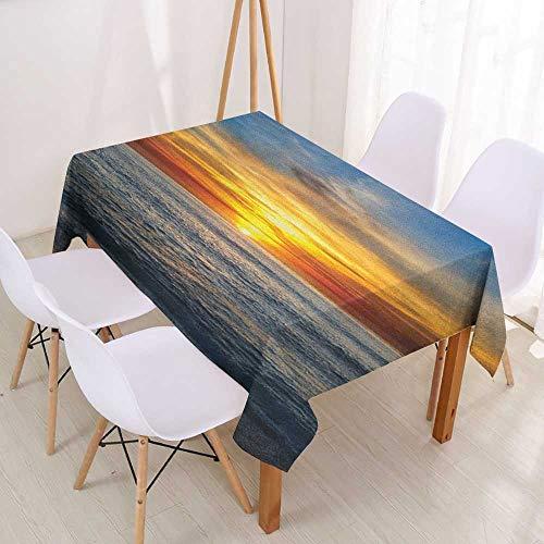 Wendell Joshua Custom Tablecloth Ocean,Sunset Over Pacific Ocean from La Jolla California Sun Rays Colored Sky Photo Print,Orange Blue,Washable Heat Resistant Table Cloth 39