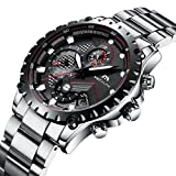 Mens Stainless Steel Watches Men Military Chronograph Waterproof Luxury Date Heavy Analogue Wrist Watch