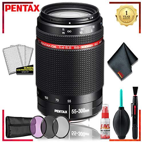 (Pentax DA 55-300 WR 4-5.8 ED Lens + 3pcs UV Lens Filter Kit + Cleaning Kit)