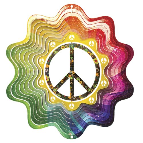Iron Stop D290-6 Peace Sign Wind Spinner, 6.5-Inch
