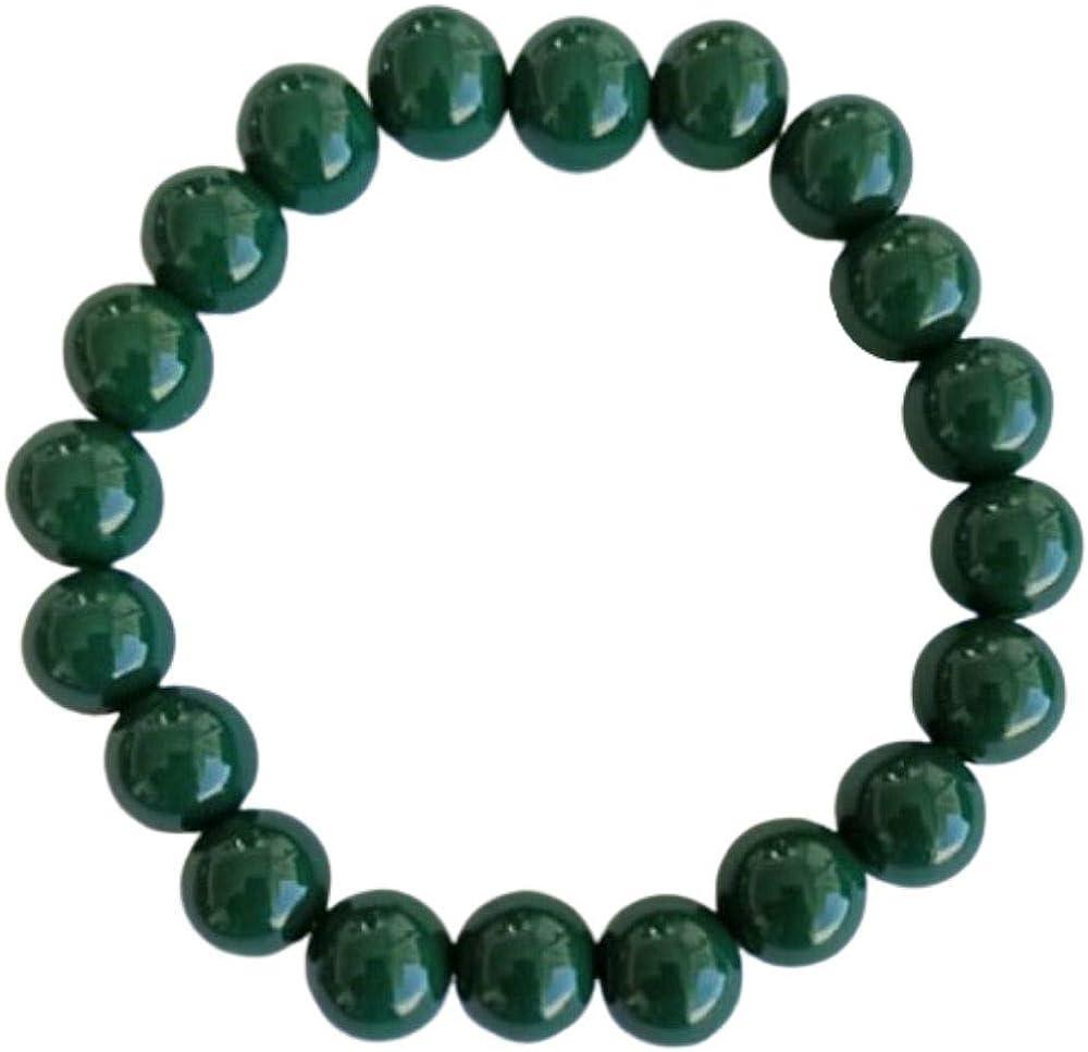 Natuxia Pulsera de Turmalina Verde Oscuro, Pulsera Anti Ansiedad Hombre/Mujer, Chakra del Corazón, Yoga y Meditación