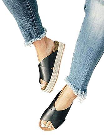 b154ffb1de Ymost Womens Platform Espadrilles Slide Sandals Wedge Sandals Open Toe  Halter Ankle Strap Faux Leather Summer
