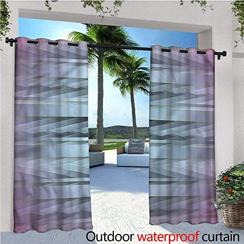 warmfamily Modern Indoor/Outdoor Single Panel Print Window Curtain Zig Zag 80s Party Theme Silver Grommet Top Drape W84 x L108