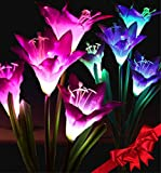 Cheap Pure Ponta Solar Flower Lights | 2 Pack of Solar Flowers with 8 Flower Lights | Multi-Color Changing | LED Outdoor Decoration – Powered by Premium Solar Panel (4 White and 4 Purple Solar Lily)