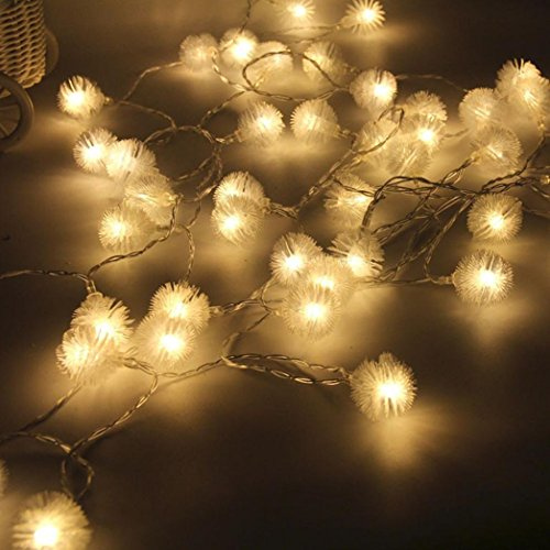 Rong Fairy String Light Dandelion Shaped Curtain Lamp Party Wedding Outdoor Decor (2.5M, Yellow) -