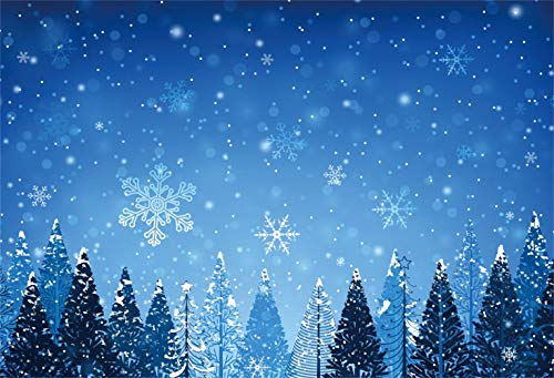 Leowefowa Dreamlike Falling Snowflakes Snowy Pine Forest Backdrop 10x8ft Merry Christmas and Happy New Year Vinyl Photography Background Wintery Bday Party Banner New Year Greeting Card Wallpaper (Falling Snow Wallpaper Christmas)
