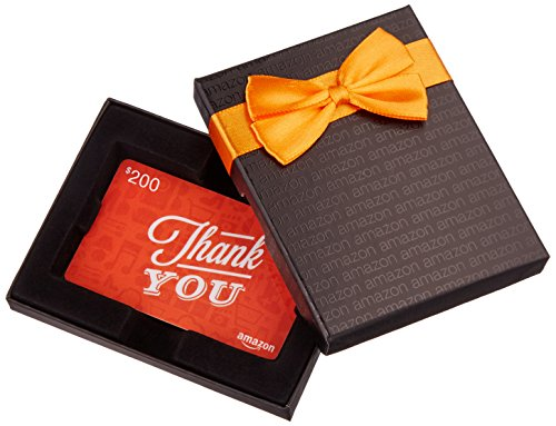 Amazon.com $200 Gift Card in a Black Gift Box (Thank You Icons Card Design) ()