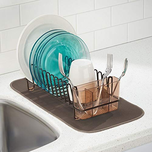 mDesign Compact Modern Metal Dish Drying Rack and Microfiber Mat Set for Kitchen Countertop, Sink - Drain and Dry Wine Glasses, Bowls and Dishes - Removable Cutlery Tray - Set of 2 - Bronze/Brown