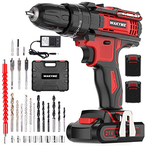 WAKYME Cordless Drill Driver Kit with 2 Batteries, 21V Impact Drill 350 In-lb Torque 25+3 Clutch, 3/8″ Keyless Chuck, Variable Speed & Built-in LED Power Drill for Drilling Wall, Brick, Wood, Metal