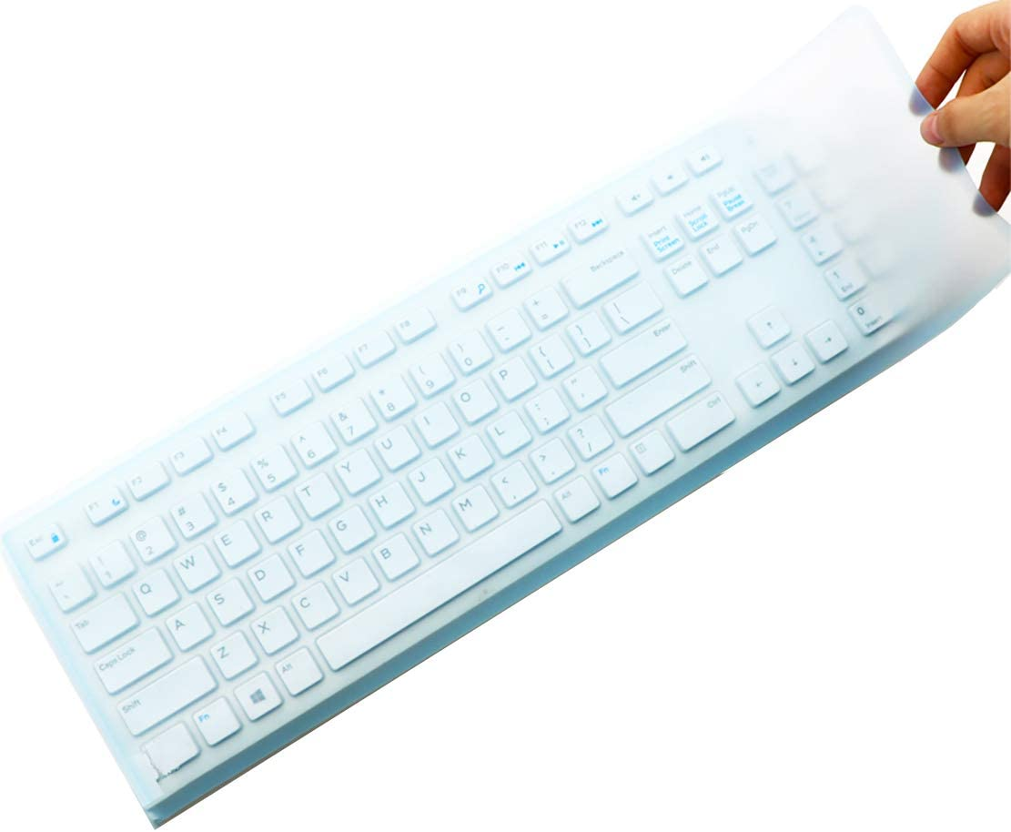 "17.52"" x 5.51"" Universal Keyboard Cover Skin Design for Standard Size PC Computer Desktop Keyboards, Clear Waterproof Anti-Dust Silicone-Blue"