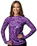Aqua Design Womens Comfort Fit Long Sleeve Swim Surf Rash Guard With Thumb Holes,Liquid Purple,XXXXXX-Large