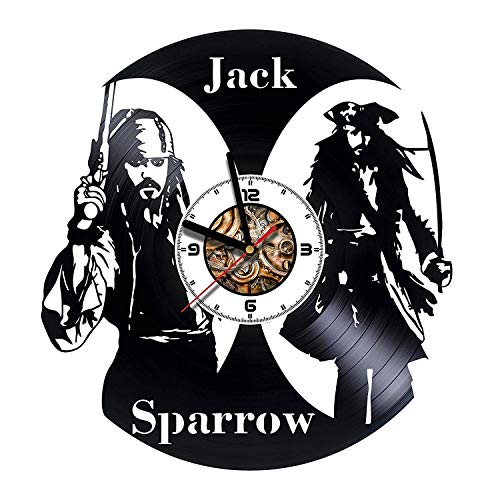 Jack Sparrow Pirates Of The Caribbean Vinyl Record Wall Clock Best Gift for Boss Dad Mom Boy Girl Kovides Vinyl Wall Clock Home Decoration Room Inspirational, Vinyl Wall Clock Silent Wall Art (3) (6)