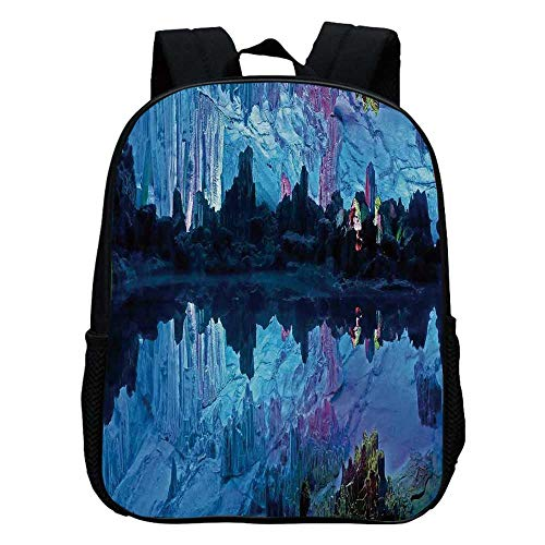 Natural Cave Decorations Durable Kindergarten Shoulder Bag,Illuminated Reed Flute Cistern with Artifical Crystal Palace Myst Cave Image For school,11.8