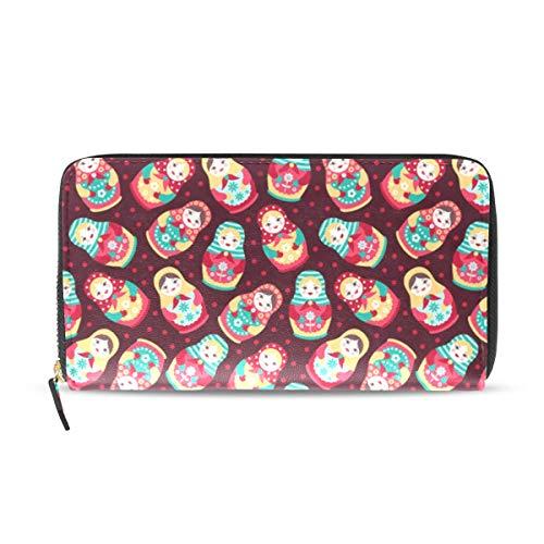 Cute Russian Dolls Matryoshka Wallets Long PU Leather Zipper Clutch Ladies Purse Wallet For Women Girl ()