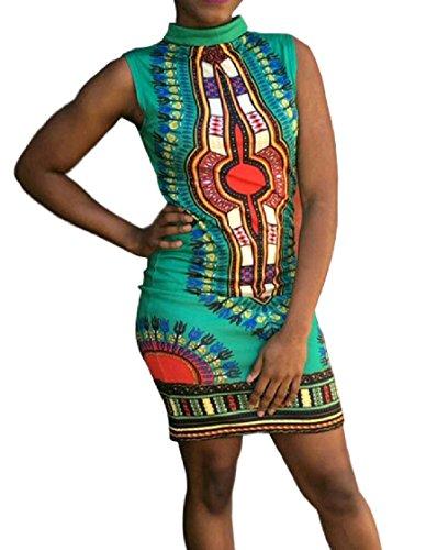 Dashiki Green Bodycon Print Pencil Sleeveless Coolred Women Dress Digital Mid 6Rqza15xw
